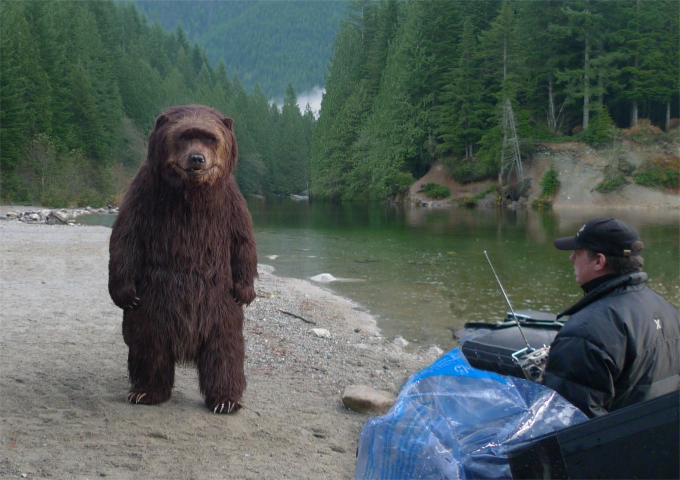 Animatronic bear being controlled